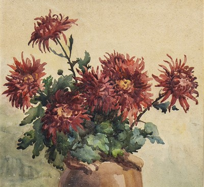 Lot 606-CHRYSANTHEMUMS, A WATERCOLOUR BY MARION BLOOM