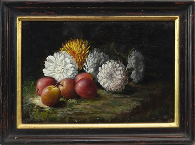 Lot 607-CHRYSANTHEMUMS AND APPLES, AN OIL