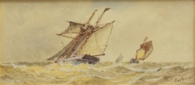 Lot 476-FISHING VESSELS AT SEA, A WATERCOLOUR BY FREDERICK JAMES ALDRIDGE