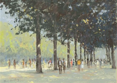 Lot 610-SUMMER IN THE TUILERIES, A PASTEL BY BRIAN LINDLEY