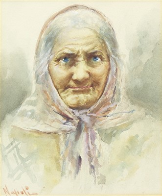 Lot 611-STUDY OF A WOMAN,  A WATERCOLOUR