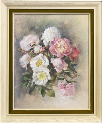 Lot 612-PINK AND WHITE FLOWERS, A MIXED MEDIA BY HILDA CHANCELLOR POPE