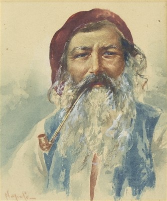 Lot 613-STUDY OF A MAN WITH PIPE, A WATERCOLOUR