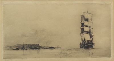Lot 616-SAILING SHIP OFFSHORE, AN ETCHING BY FRANK HENRY MASON