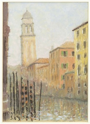 Lot 617-THE GREEK CHURCH OF ST GEORGE, A PASTEL BY BRIAN LINDLEY