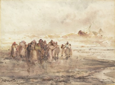 Lot 618-FIGURES ON THE SHORE, A WATERCOLOUR BY FRANK WASLEY