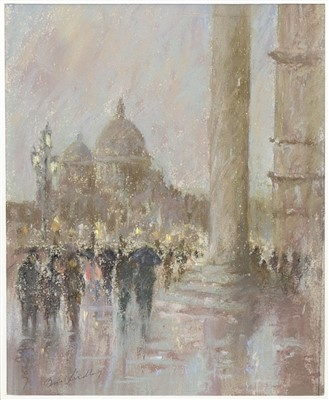 Lot 620-WET EVENING ON THE MOLO, A PASTEL BY BRIAN LINDLEY