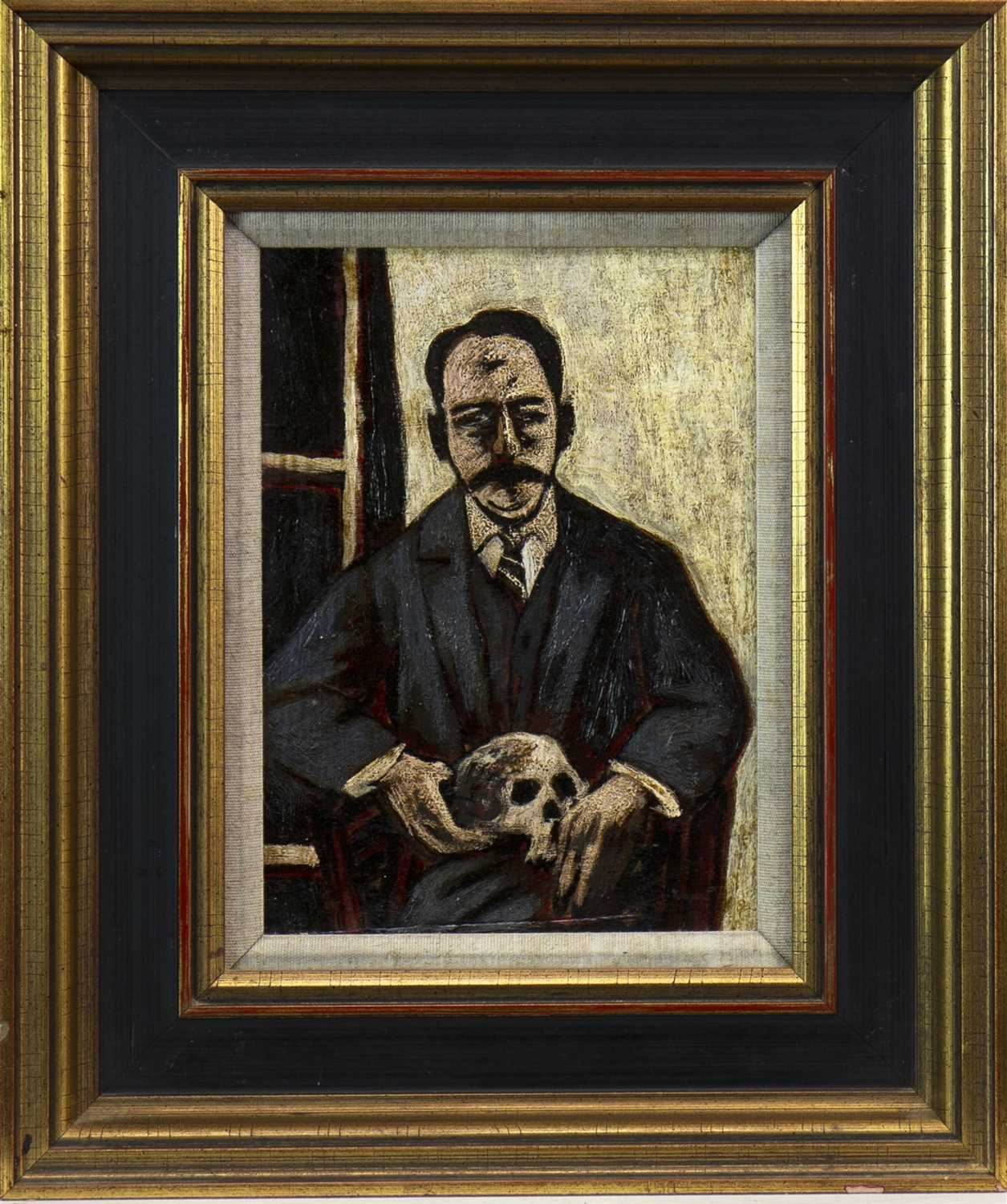 Lot 514-FATHER AND SKULL, AN OIL BY STUART MACKENZIE