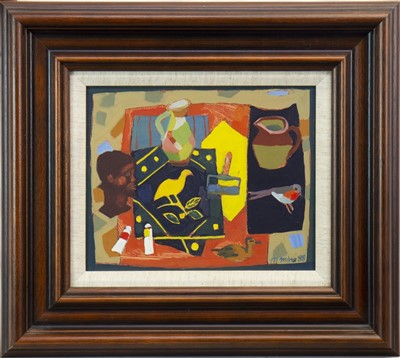 Lot 529-TABLE TOP STILL LIFE, AN OIL BY MAGGIE MILNE