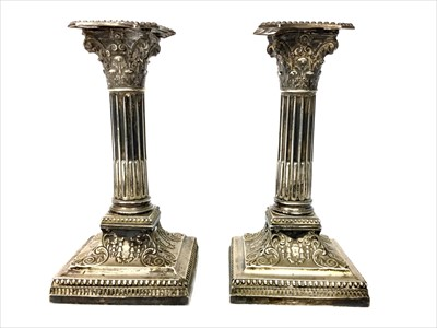 Lot 820-A PAIR OF LATE VICTORIAN SILVER CORINTHIAN COLUMN DWARF CANDLESTICKS