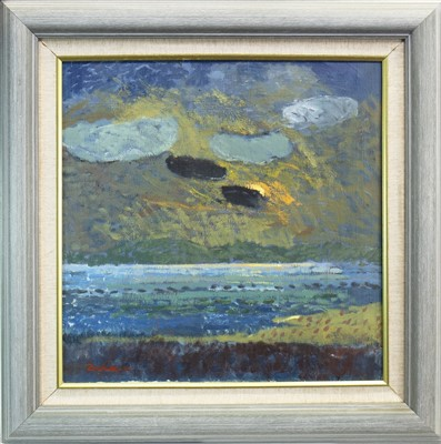 Lot 536-BLACK CLOUDS, GLENDIG, AN OIL BY FRANK DOCHERTY