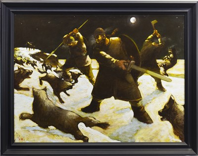 Lot 572-THE HUNTERS, AN OIL BY DONALD MACLEOD