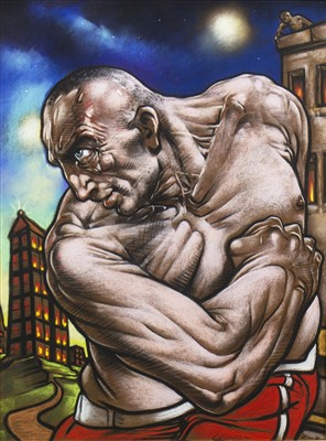 Lot 573-GALLOWGATE GLADIATOR, A PASTEL BY PETER HOWSON