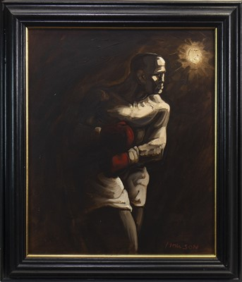 Lot 574-THE PUGILIST, AN OIL BY PETER HOWSON