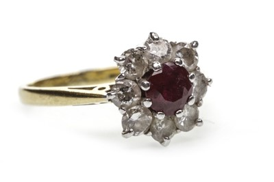 Lot 41-A RED GEM SET AND DIAMOND RING
