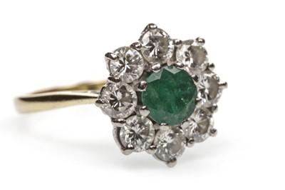 Lot 44-A GREEN GEM SET AND DIAMOND RING