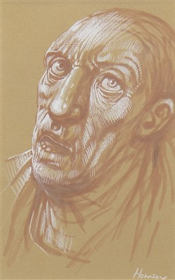 Lot 581-HEAD STUDY, A PASTEL BY PETER HOWSON