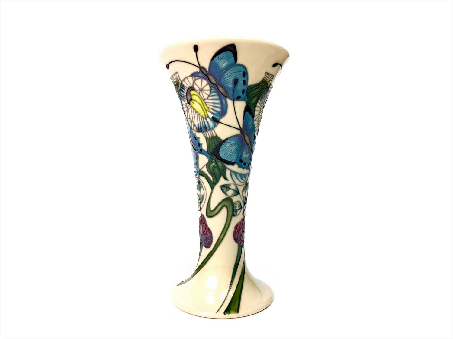 Lot 1214-A MOORCROFT BUTTERFLY VASE BY EMMA BOSSONS