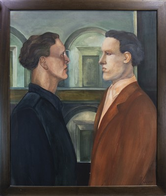 Lot 575-THE TWO ARCHITECTS, AN OIL BY HEATHER NEVAY