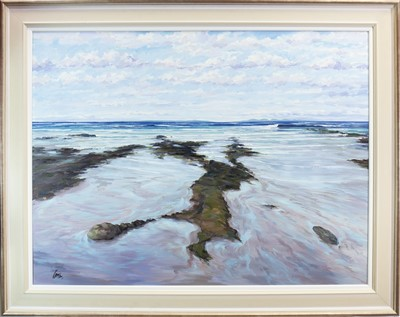 Lot 547-ROCKS AND SHORE, MACHRIHANISH, AN OIL BY TOM BARRON