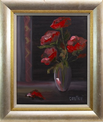 Lot 576-STILL LIFE WITH ROSES, AN OIL BY BILL COSTLEY
