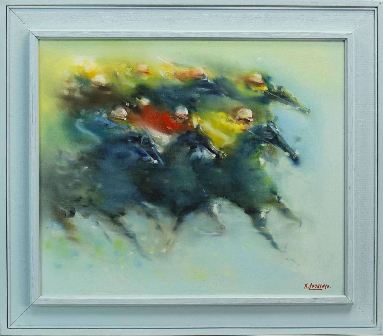 Lot 629-THE FINISH LINE, AN OIL BY ARMOND LOURENCO