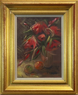 Lot 622-STILL LIFE WITH FRUIT AND FLOWERS, AN OIL BY BILL COSTLEY