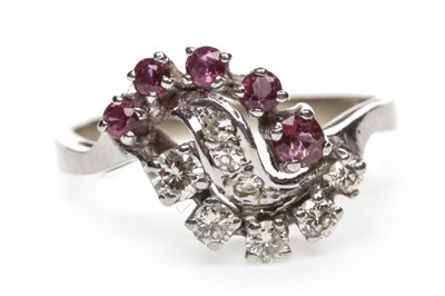 Lot 48-A RED GEM SET AND DIAMOND RING