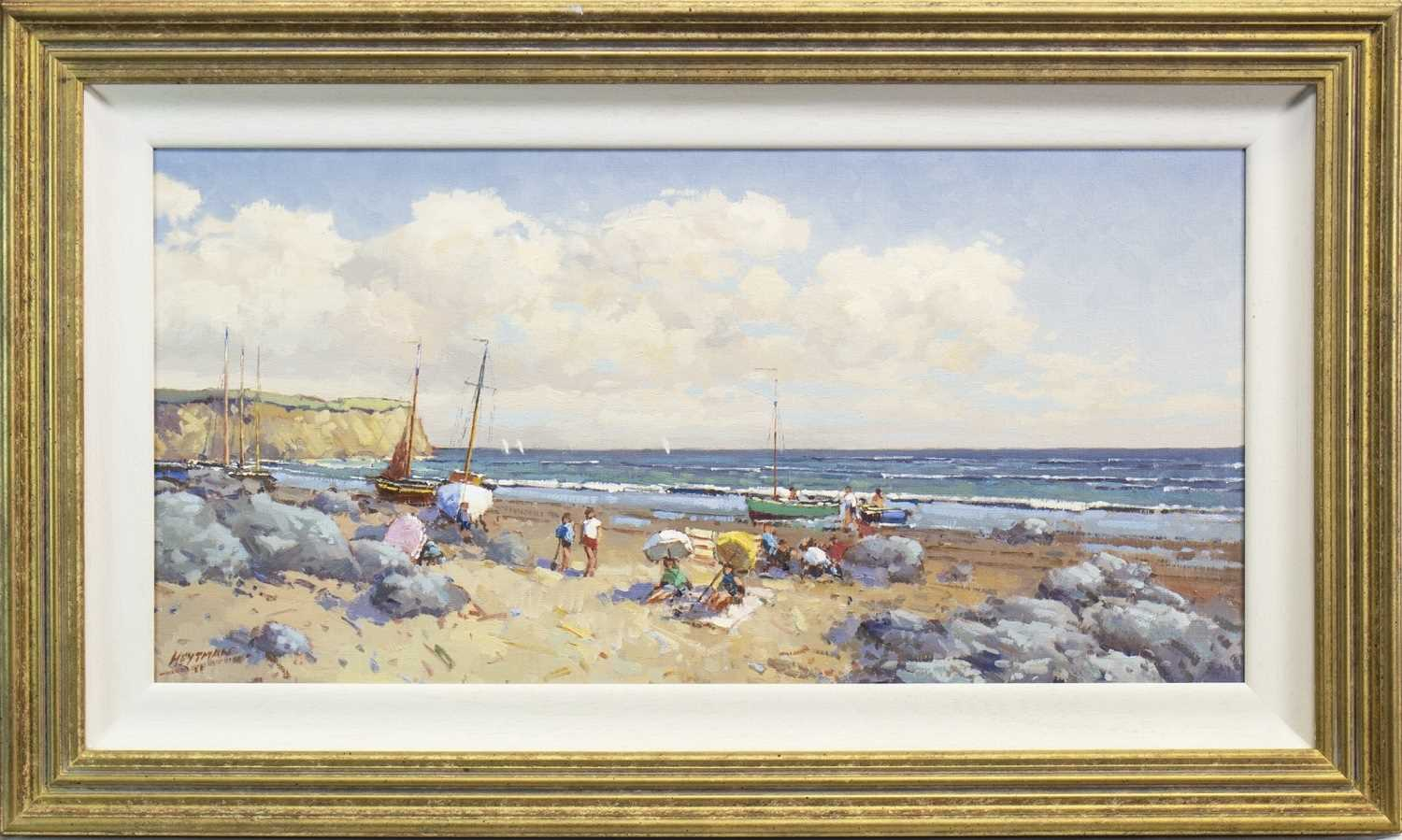 Lot 594-COASTAL SCENE WITH FIGURES AND BOATS, AN OIL BY WILLIAM HEYTMAN