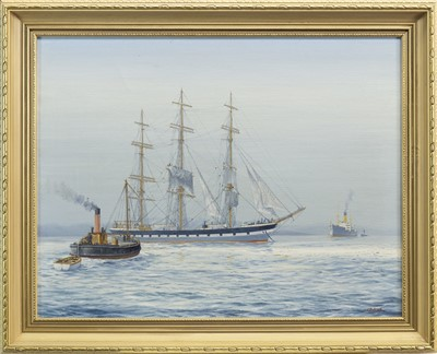 Lot 635-BOATS IN CALM WATERS, AN OIL BY JAMES BURNIE