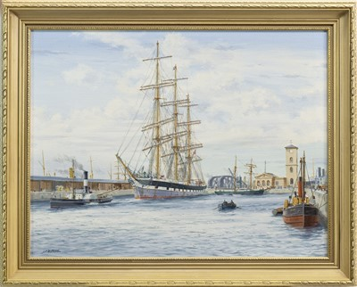Lot 636-BOATS IN CALM WATERS, AN OIL BY JAMES BURNIE