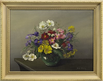 Lot 638-FLORAL STILL LIFE, AN OIL BY MARY BROWN