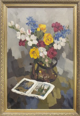 Lot 639-STILL LIFE WITH FLOWERS, AN OIL
