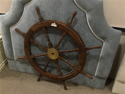 Lot 42-A SHIP'S WHEEL AND A PICTURE OF A CAPTAIN