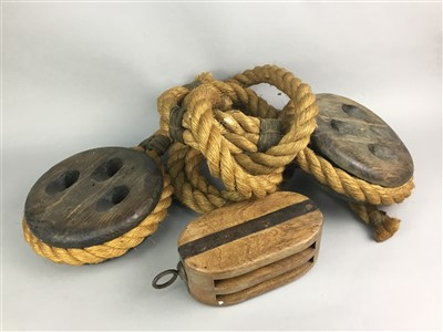Lot 43-A LOT OF THREE SHIP'S PULLEYS AND A PICTURE