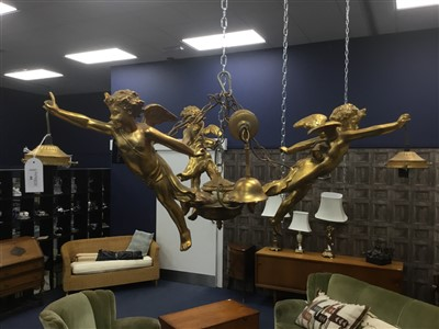 Lot 44-A GILT RESIN FIGURAL CHANDELIER WITH THREE WALL LIGHTS