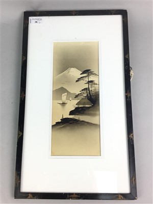 Lot 38-A LOT OF TWO JAPANESE PAINTINGS DEPICTING MOUNT FUJI