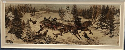 Lot 39-A LARGE EMBROIDERED PANEL OF A HUNTING SCENE