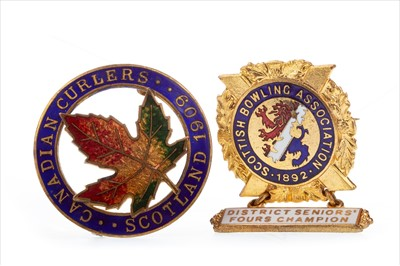 Lot 1706-A LATE VICTORIAN SCOTTISH BOWLING ASSOCIATION BADGE AND ANOTHER