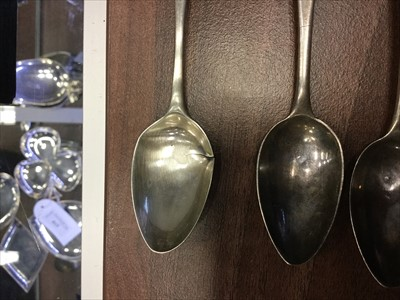 Lot 802-A SET OF FOUR 19TH CENTURY SCOTTISH PROVINCIAL SILVER TEASPOONS ALONG WITH TWO OTHERS