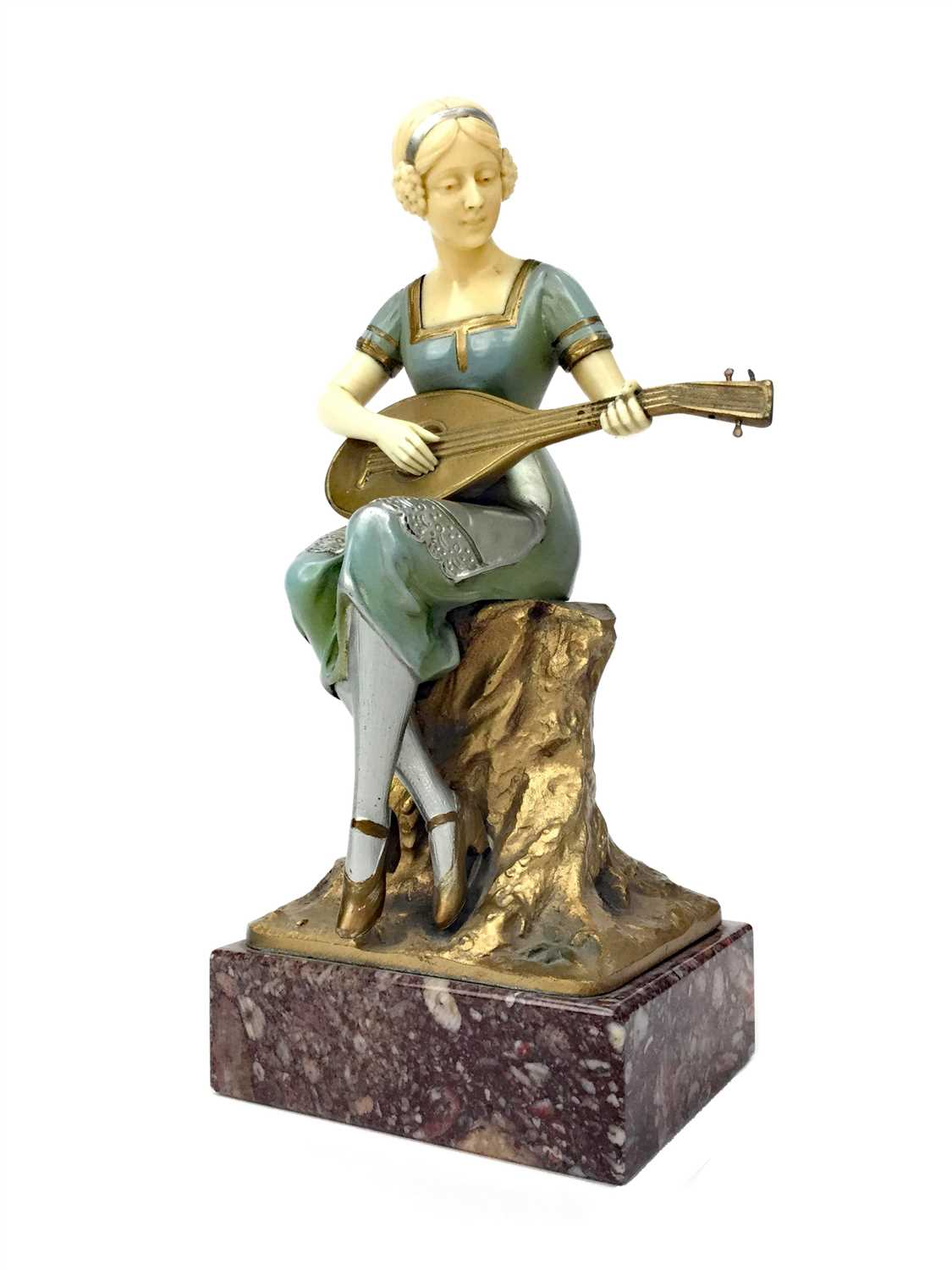 Lot 825-AN ART DECO BRONZE AND IVORY FIGURE OF A LADY