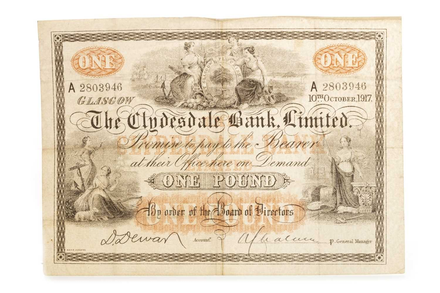 Lot 555 - A THE CLYDESDALE BANK LIMITED £1 1917