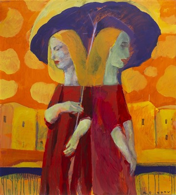 Lot 579-COUPLE UNDER THE RAIN, AN OIL BY ANDREI BLUDOV