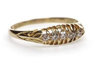 Lot 55-A VICTORIAN DIAMOND FIVE STONE RING