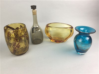 Lot 24-A LOT OF EIGHT CONTEMPORARY GLASS VASES AND A DECANTER