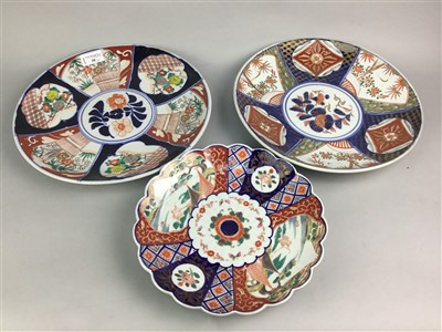 Lot 20-A LOT OF THREE CHINESE IMARI PLATES AND OTHER CHINESE CERAMICS