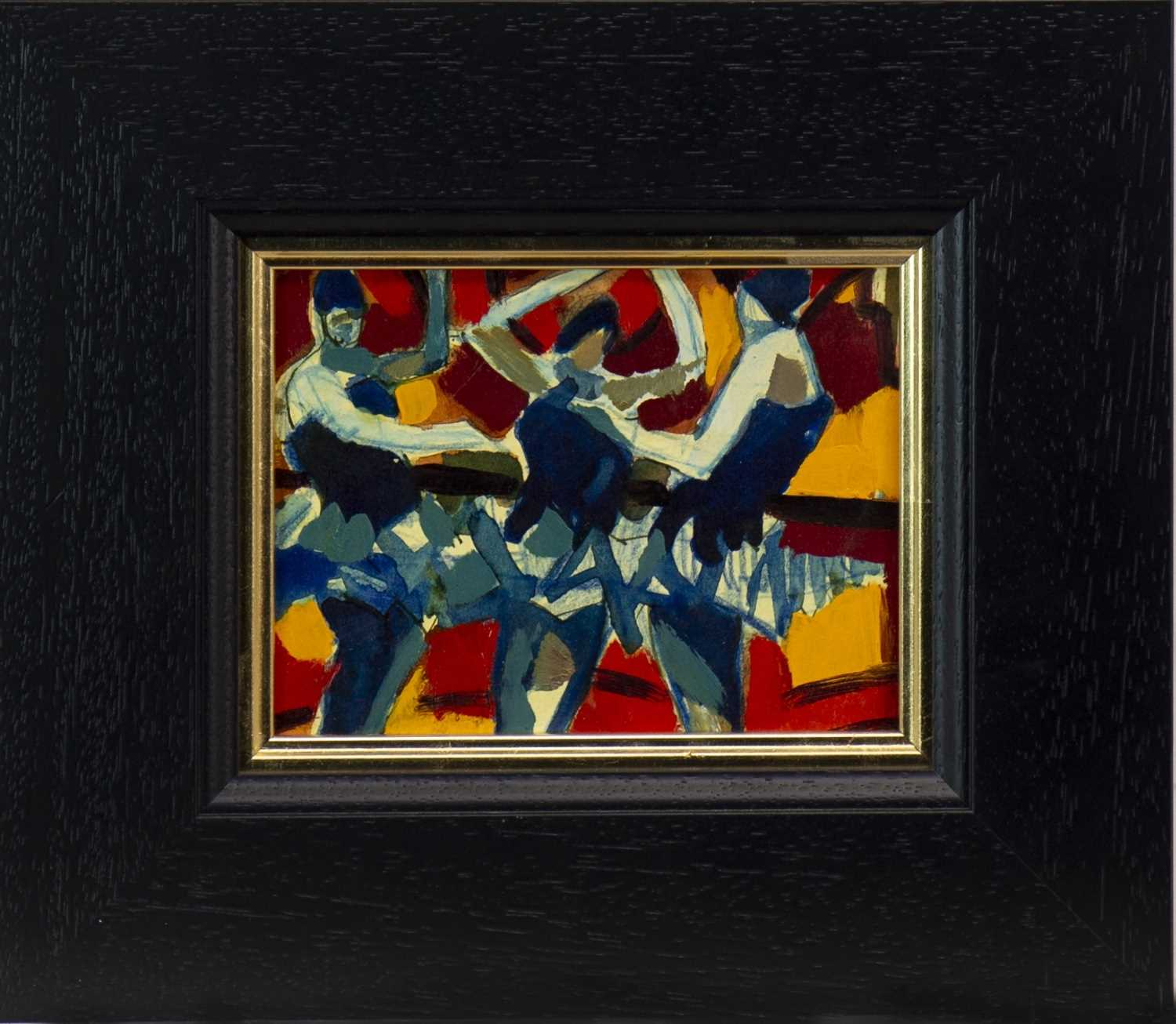 Lot 554-BALLET DANCERS, A MIXED MEDIA BY JAMIE O'DEA