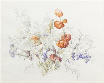 Lot 642-FLORAL STILL LIFE, A WATERCOLOUR BY JANE WORMELL