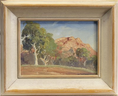 Lot 504-GHOST GUMS AT TEMPLE BAR, AN OIL BY LEONARD LONG