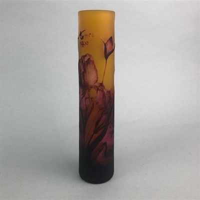 Lot 7-A CYLINDRICAL GLASS VASE SIGNED NANCY